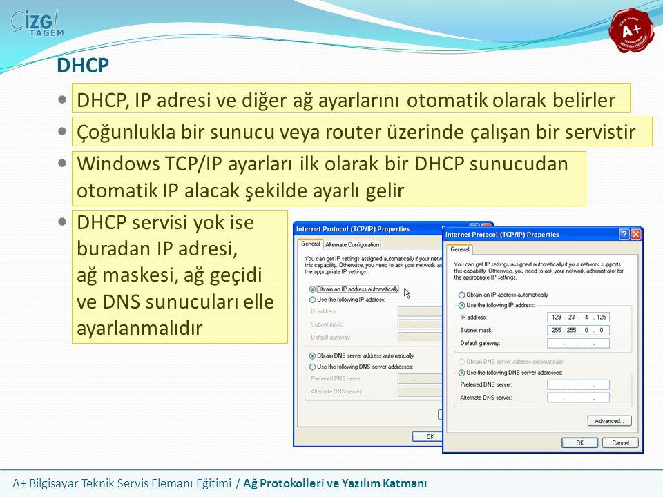 A+ Bilgisayar Teknik Servis Elemanı Eğitimi / Ağ Protokolleri ve Yazılım Katmanı DHCP DHCP, IP adresi ve diğer ağ ayarlarını otomatik olarak belirler