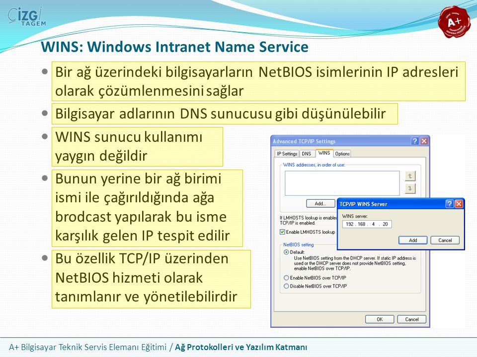 A+ Bilgisayar Teknik Servis Elemanı Eğitimi / Ağ Protokolleri ve Yazılım Katmanı WINS: Windows Intranet Name Service Bir ağ üzerindeki bilgisayarların
