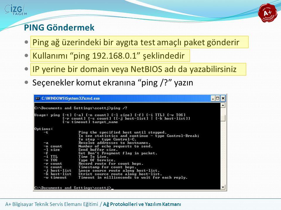 """A+ Bilgisayar Teknik Servis Elemanı Eğitimi / Ağ Protokolleri ve Yazılım Katmanı Ping ağ üzerindeki bir aygıta test amaçlı paket gönderir Kullanımı """"p"""