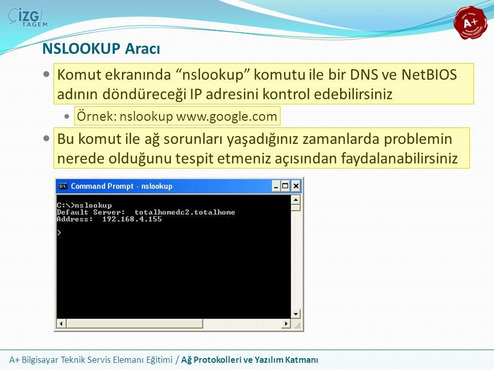 """A+ Bilgisayar Teknik Servis Elemanı Eğitimi / Ağ Protokolleri ve Yazılım Katmanı NSLOOKUP Aracı Komut ekranında """"nslookup"""" komutu ile bir DNS ve NetBI"""