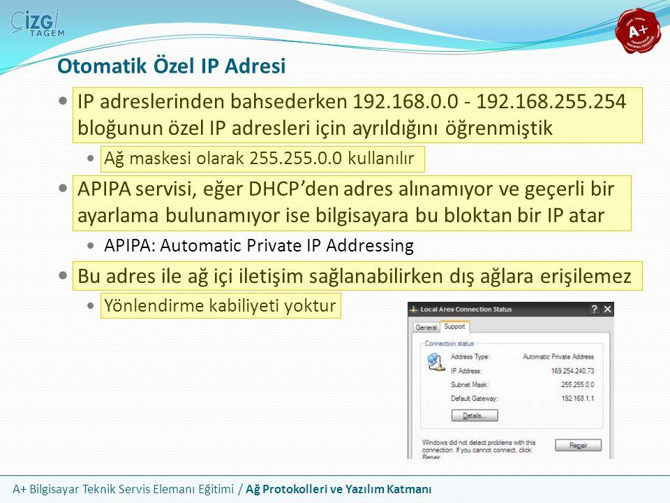 A+ Bilgisayar Teknik Servis Elemanı Eğitimi / Ağ Protokolleri ve Yazılım Katmanı Otomatik Özel IP Adresi IP adreslerinden bahsederken 192.168.0.0 - 19
