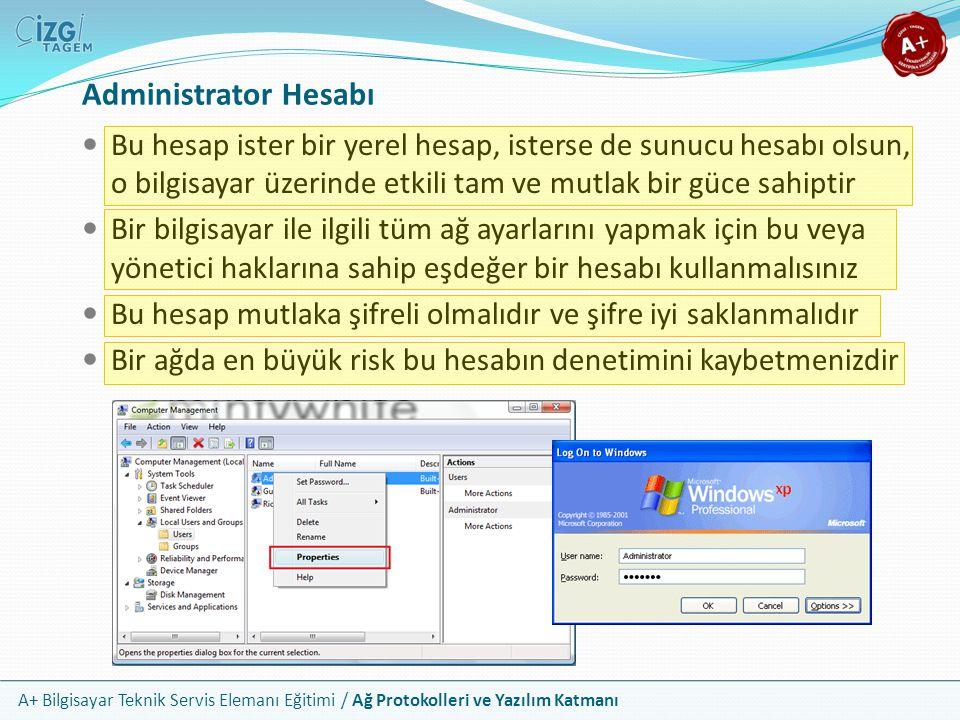 A+ Bilgisayar Teknik Servis Elemanı Eğitimi / Ağ Protokolleri ve Yazılım Katmanı Administrator Hesabı Bu hesap ister bir yerel hesap, isterse de sunuc