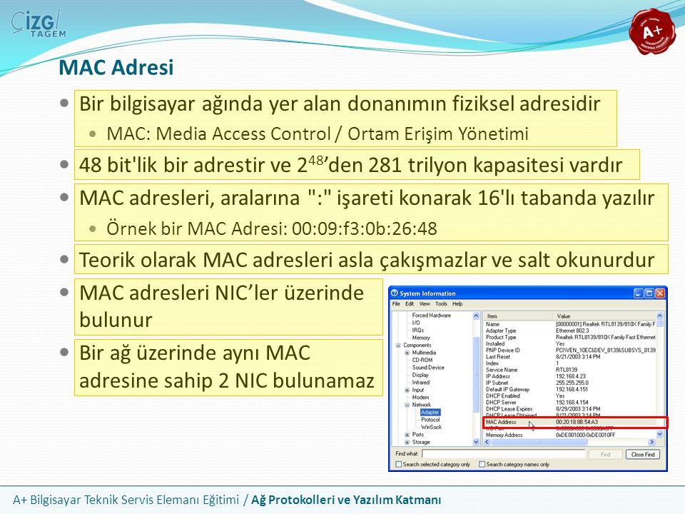 A+ Bilgisayar Teknik Servis Elemanı Eğitimi / Ağ Protokolleri ve Yazılım Katmanı MAC Adresi Yapısı İlk 6 hex (24 bit) üretici bilgisi, kalan yarısı da seri numarasıdır 24 bit üretici bilgisinde ise ilk 3 bit adres havuzunu dağıtan organizasyonu, sonraki 5 bit ise üreticiyi temsil eder İlk bitleri 01 olan adresler birçok cihaza yayın yapmak (multicast) için kullanılır Yerel olarak atanmış MAC adresleri 02 ile başlarlar FF:FF:FF:FF:FF:FF adresi ise tüm cihazlara yayın yapmak (broadcast) için kullanılır
