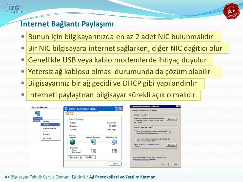 A+ Bilgisayar Teknik Servis Elemanı Eğitimi / Ağ Protokolleri ve Yazılım Katmanı Internet Bağlantı Paylaşımı Bunun için bilgisayarınızda en az 2 adet