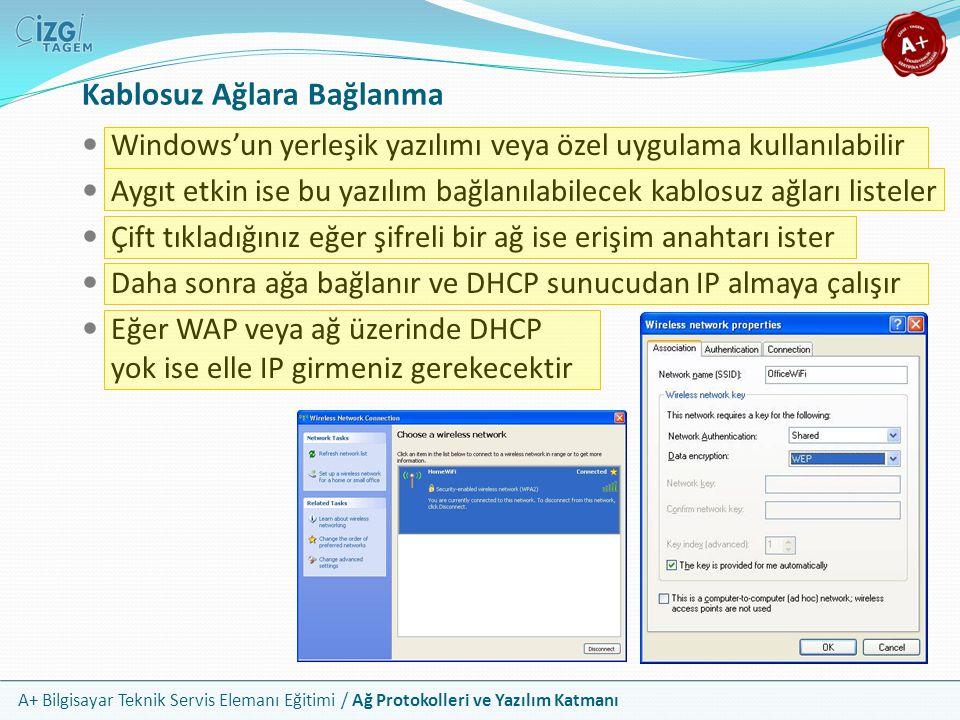 A+ Bilgisayar Teknik Servis Elemanı Eğitimi / Ağ Protokolleri ve Yazılım Katmanı Kablosuz Ağlara Bağlanma Windows'un yerleşik yazılımı veya özel uygul