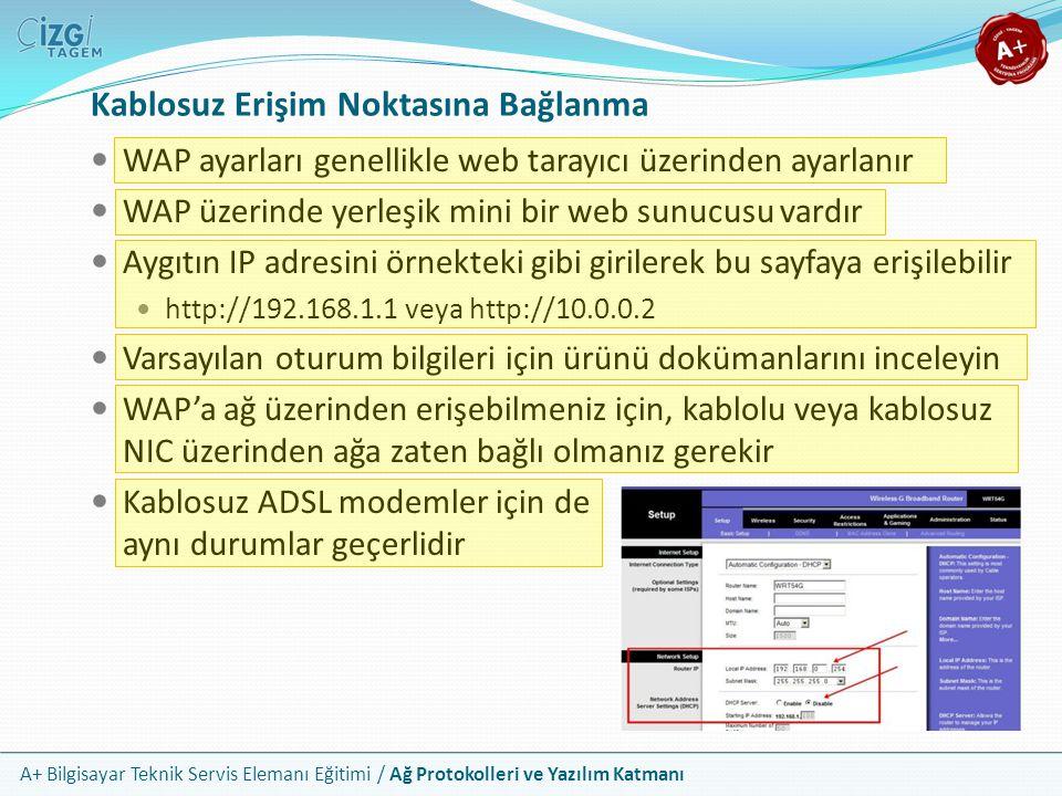 A+ Bilgisayar Teknik Servis Elemanı Eğitimi / Ağ Protokolleri ve Yazılım Katmanı Kablosuz Erişim Noktasına Bağlanma WAP ayarları genellikle web tarayı