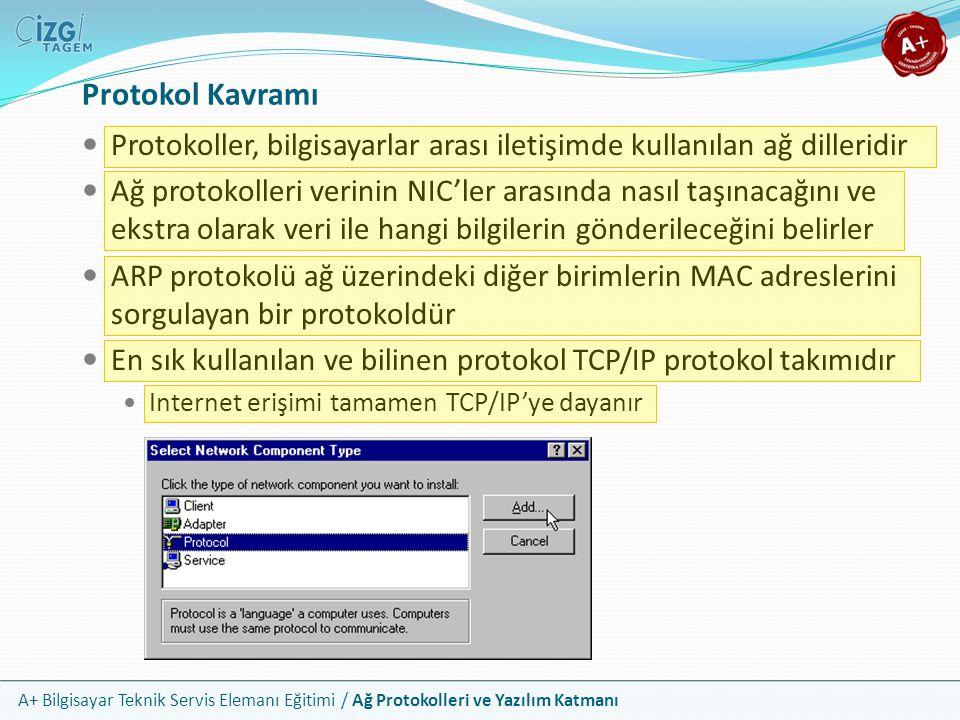 A+ Bilgisayar Teknik Servis Elemanı Eğitimi / Ağ Protokolleri ve Yazılım Katmanı IP Protokolü Bugün ister LAN, isterse de WAN düzeyinde olsun bir ağa bağlanan her bilgisayar bir IP adresi almaktadır Yaygın olarak TCP/IP olarak bilinse de, TCP taşıyıcı katmandır IP ise bağlantı katmanıdır ve üzerindeki tek taşıyıcı TCP değildir TCP/IP tek bir protokol değil, birlikte çalışan bir protokol takımıdır IP: Internet Protocol Güncel kullanılan IP adresleri sürüm 4'tür (IPv4) Ancak teknik yetersizlikler sebebiyle sürüm 6'ya geçilmektedir Windows Vista TCP/IPv4 ve TCP/IPv6 olarak ifade etmeye başlamıştır