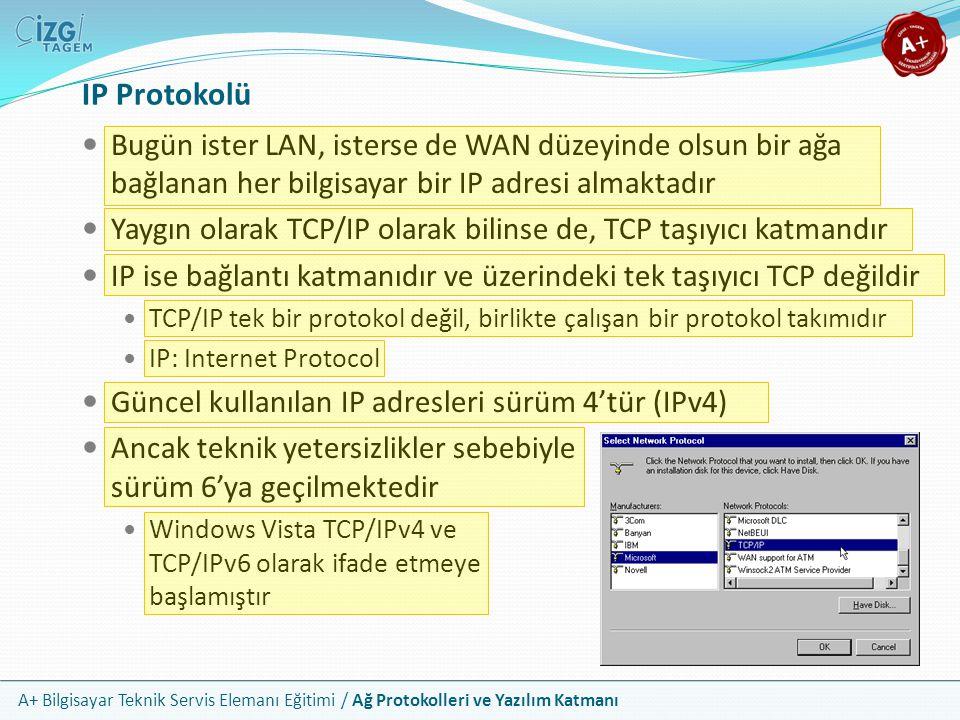 A+ Bilgisayar Teknik Servis Elemanı Eğitimi / Ağ Protokolleri ve Yazılım Katmanı IPv4 Adresleri IPv4 32 bit boyutundadır Noktalarla ayrılmış 4 adet 8 bitlik sayıyla gösterilirler Örnek: 192.168.0.1 Bir ağ içerisinde iki farklı NIC üzerinde aynı IP adresi bulunamaz Bazı IP adresleri veya adres blokları özel işlevler için rezervedir 127.0.0.1 yerel makineyi temsil eder (loopback) 10.0.0.1 - 10.255.255.254 özel IP bloğu 172.16.0.1 - 172.31.255.254 özel IP bloğu 192.168.0.1 - 192.168.255.254 özel IP bloğu 169.254.0.1 - 169.254.255.254 otomatik özel IP bloğu