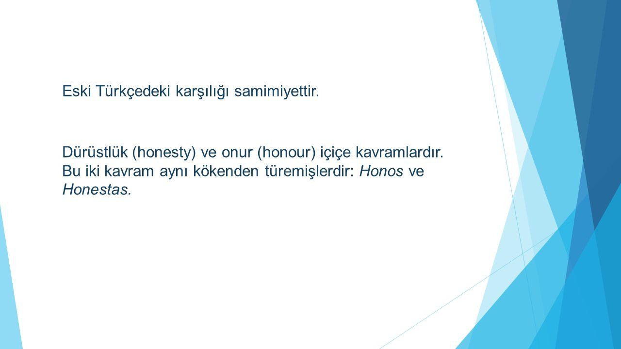 Dürüstlük (honesty) ve onur (honour) içiçe kavramlardır. Bu iki kavram aynı kökenden türemişlerdir: Honos ve Honestas. Eski Türkçedeki karşılığı samim