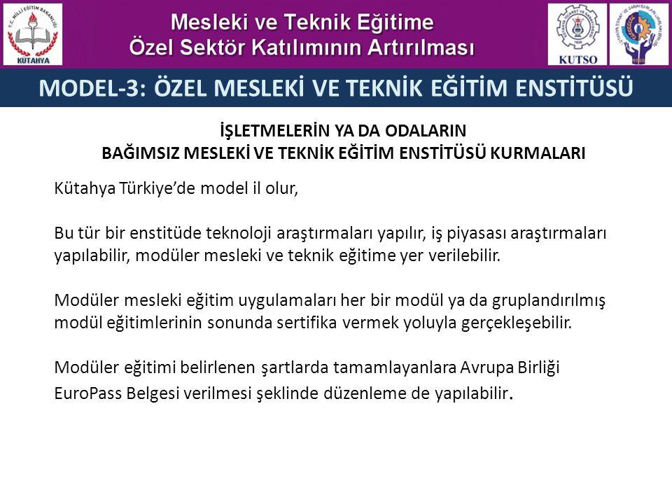 MODEL-3: ÖZEL MESLEKİ VE TEKNİK EĞİTİM ENSTİTÜSÜ İŞLETMELERİN YA DA ODALARIN BAĞIMSIZ MESLEKİ VE TEKNİK EĞİTİM ENSTİTÜSÜ KURMALARI Kütahya Türkiye'de