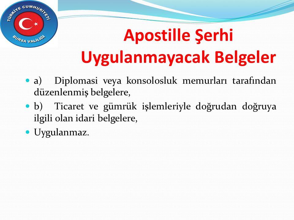 Apostille Şerhi Uygulanmayacak Belgeler a)Diplomasi veya konsolosluk memurları tarafından düzenlenmiş belgelere, b)Ticaret ve gümrük işlemleriyle doğr