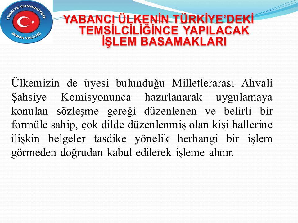YABANCI ÜLKENİN TÜRKİYE'DEKİ TEMSİLCİLİĞİNCE YAPILACAK İŞLEM BASAMAKLARI Ülkemizin de üyesi bulunduğu Milletlerarası Ahvali Şahsiye Komisyonunca hazır