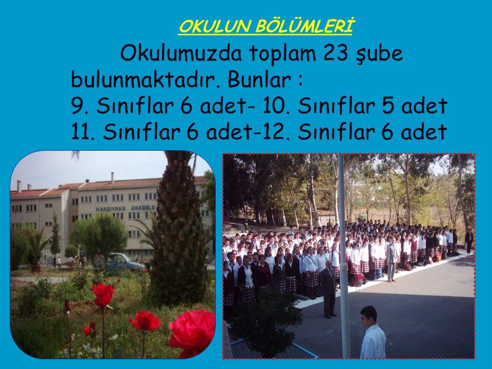 Okulumuzda toplam 23 şube bulunmaktadır. Bunlar : 9. Sınıflar 6 adet- 10. Sınıflar 5 adet 11. Sınıflar 6 adet-12. Sınıflar 6 adet OKULUN BÖLÜMLERİ