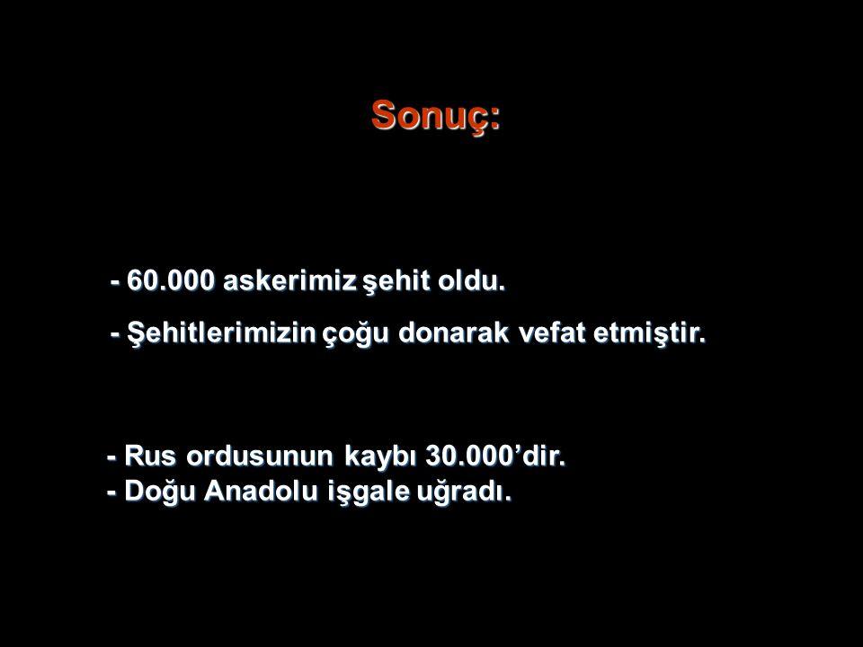 Sonuç: - 60.000 askerimiz şehit oldu. - Şehitlerimizin çoğu donarak vefat etmiştir. - Rus ordusunun kaybı 30.000'dir. - Doğu Anadolu işgale uğradı.