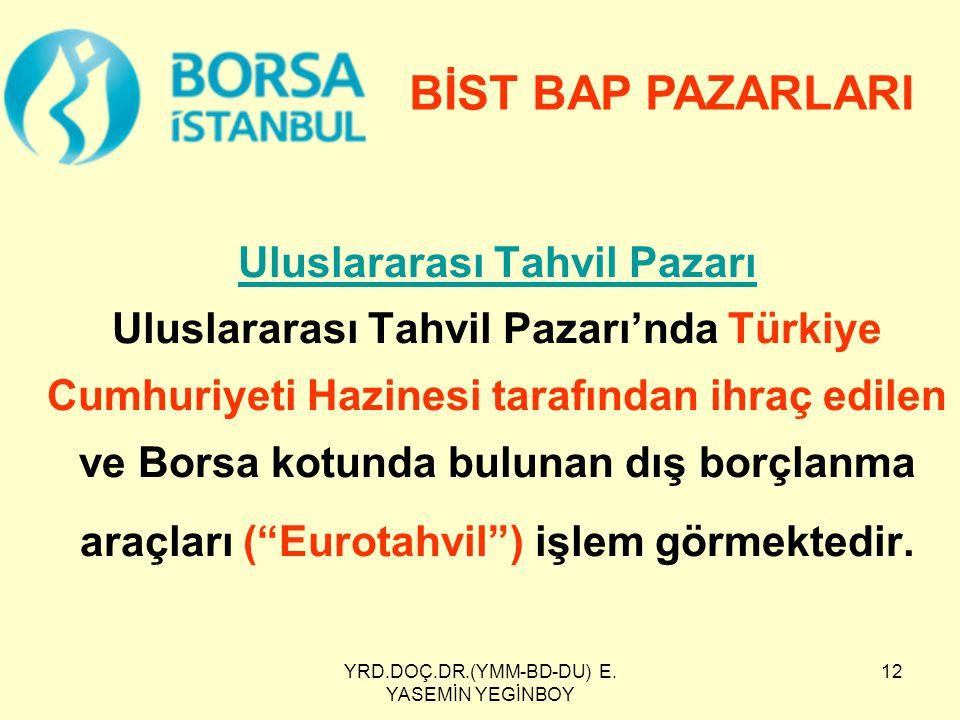YRD.DOÇ.DR.(YMM-BD-DU) E. YASEMİN YEGİNBOY 12 Uluslararası Tahvil Pazarı Uluslararası Tahvil Pazarı Uluslararası Tahvil Pazarı'nda Türkiye Cumhuriyeti
