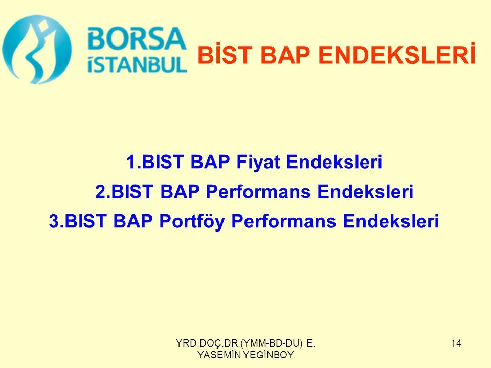 YRD.DOÇ.DR.(YMM-BD-DU) E. YASEMİN YEGİNBOY 14 1.BIST BAP Fiyat Endeksleri 2.BIST BAP Performans Endeksleri 3.BIST BAP Portföy Performans Endeksleri Bİ