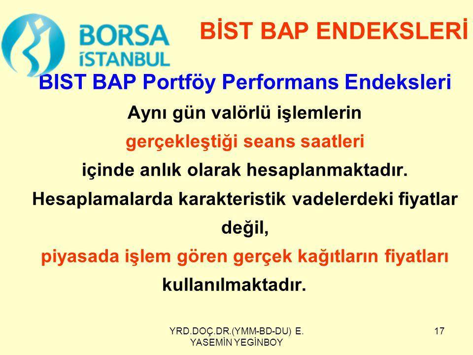 YRD.DOÇ.DR.(YMM-BD-DU) E. YASEMİN YEGİNBOY 17 BIST BAP Portföy Performans Endeksleri Aynı gün valörlü işlemlerin gerçekleştiği seans saatleri içinde a