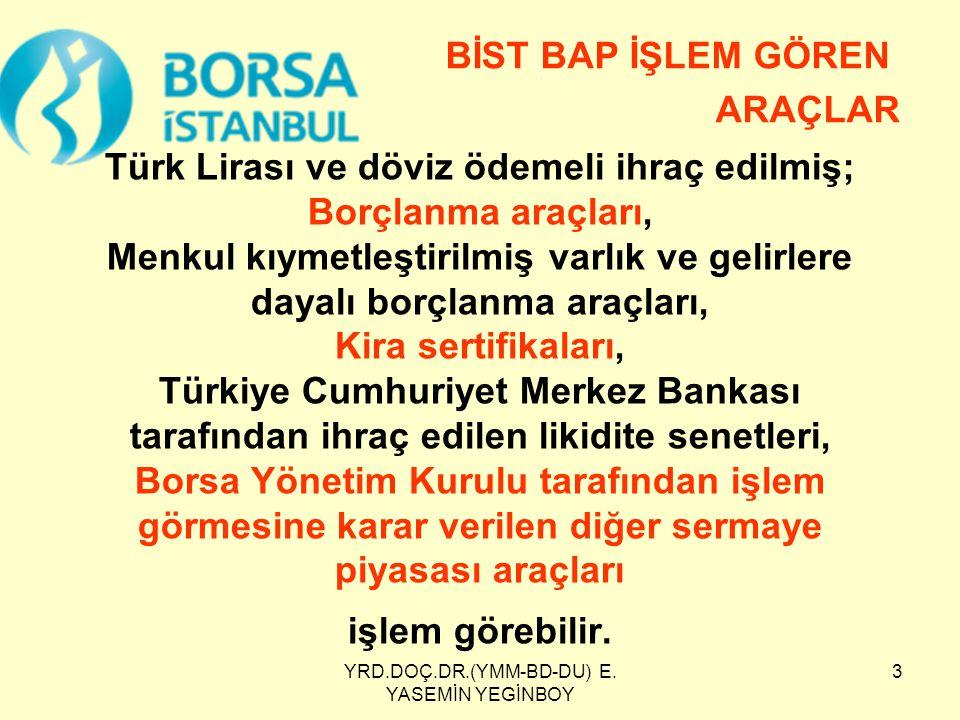 YRD.DOÇ.DR.(YMM-BD-DU) E. YASEMİN YEGİNBOY 3 Türk Lirası ve döviz ödemeli ihraç edilmiş; Borçlanma araçları, Menkul kıymetleştirilmiş varlık ve gelirl