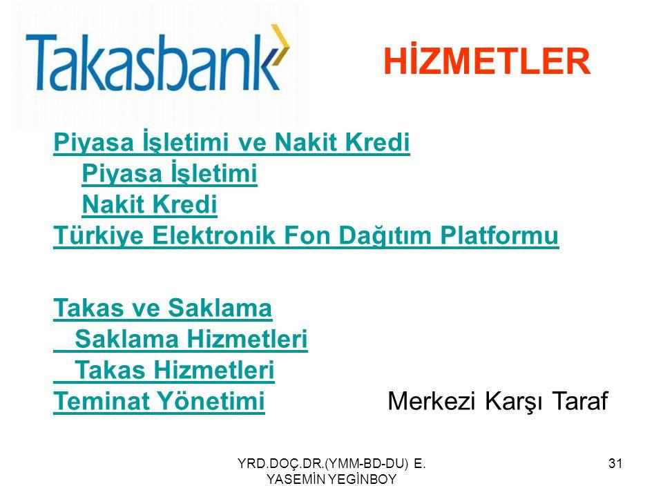 YRD.DOÇ.DR.(YMM-BD-DU) E. YASEMİN YEGİNBOY 31 HİZMETLER Piyasa İşletimi ve Nakit Kredi Piyasa İşletimi Nakit Kredi Türkiye Elektronik Fon Dağıtım Plat