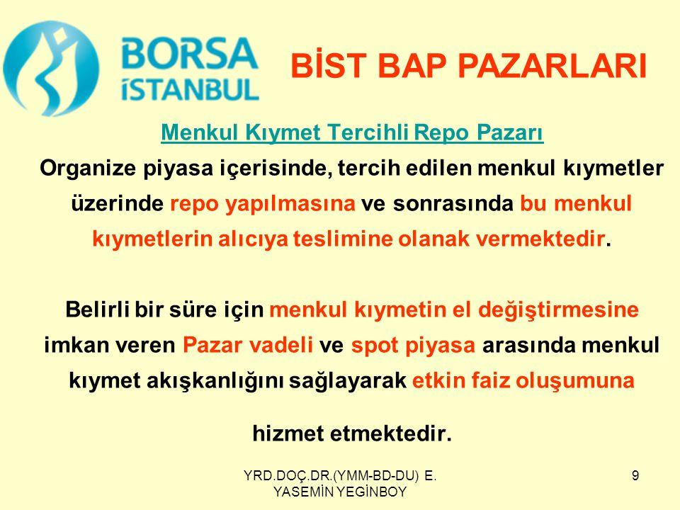 YRD.DOÇ.DR.(YMM-BD-DU) E.YASEMİN YEGİNBOY 20 İstanbul Takas ve Saklama Bankası A.Ş.