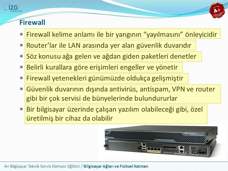 """A+ Bilgisayar Teknik Servis Elemanı Eğitimi / Bilgisayar Ağları ve Fiziksel Katman Firewall Firewall kelime anlamı ile bir yangının """"yayılmasını"""" önle"""