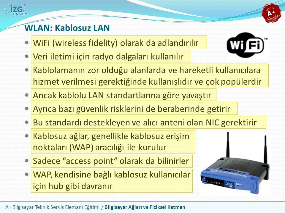 A+ Bilgisayar Teknik Servis Elemanı Eğitimi / Bilgisayar Ağları ve Fiziksel Katman WiFi (wireless fidelity) olarak da adlandırılır Veri iletimi için r