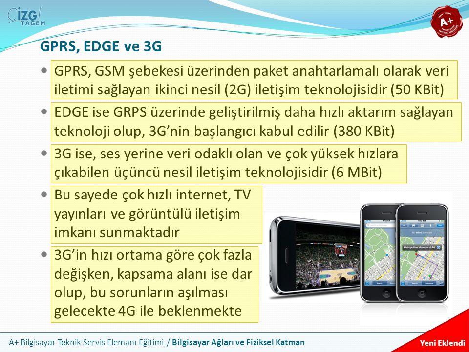 A+ Bilgisayar Teknik Servis Elemanı Eğitimi / Bilgisayar Ağları ve Fiziksel Katman GPRS, EDGE ve 3G GPRS, GSM şebekesi üzerinden paket anahtarlamalı o