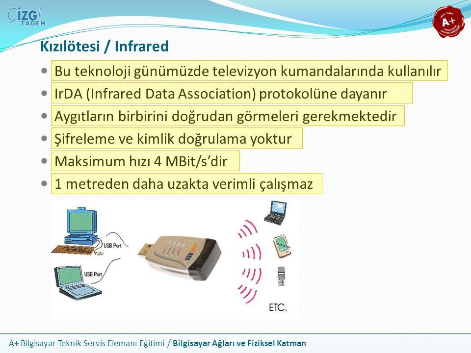 A+ Bilgisayar Teknik Servis Elemanı Eğitimi / Bilgisayar Ağları ve Fiziksel Katman Kızılötesi / Infrared Bu teknoloji günümüzde televizyon kumandaları
