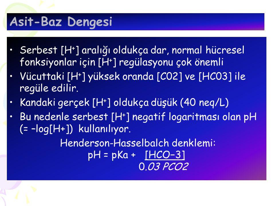 Serbest [H + ] aralığı oldukça dar, normal hücresel fonksiyonlar için [H + ] regülasyonu çok önemli Vücuttaki [H + ] yüksek oranda [C02] ve [HC03] ile regüle edilir.