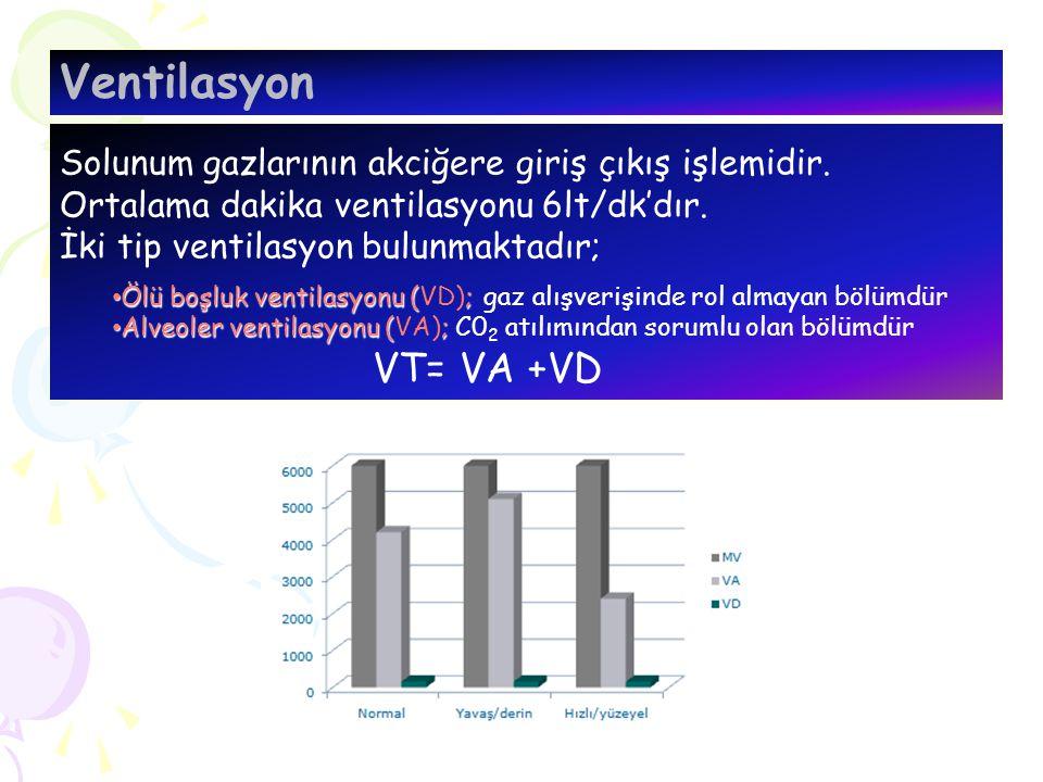 Solunum gazlarının akciğere giriş çıkış işlemidir. Ortalama dakika ventilasyonu 6lt/dk'dır. İki tip ventilasyon bulunmaktadır; Ölü boşluk ventilasyonu
