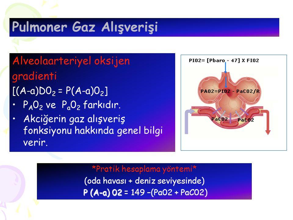 *Pratik hesaplama yöntemi* (oda havası + deniz seviyesinde) P (A-a) 02 P (A-a) 02 = 149 –(Pa02 + PaC02) Pulmoner Gaz Alışverişi Alveolaarteriyel oksijen gradienti [(A-a)D0 2 = P(A-a)0 2 ] P A 0 2 ve P a 0 2 farkıdır.