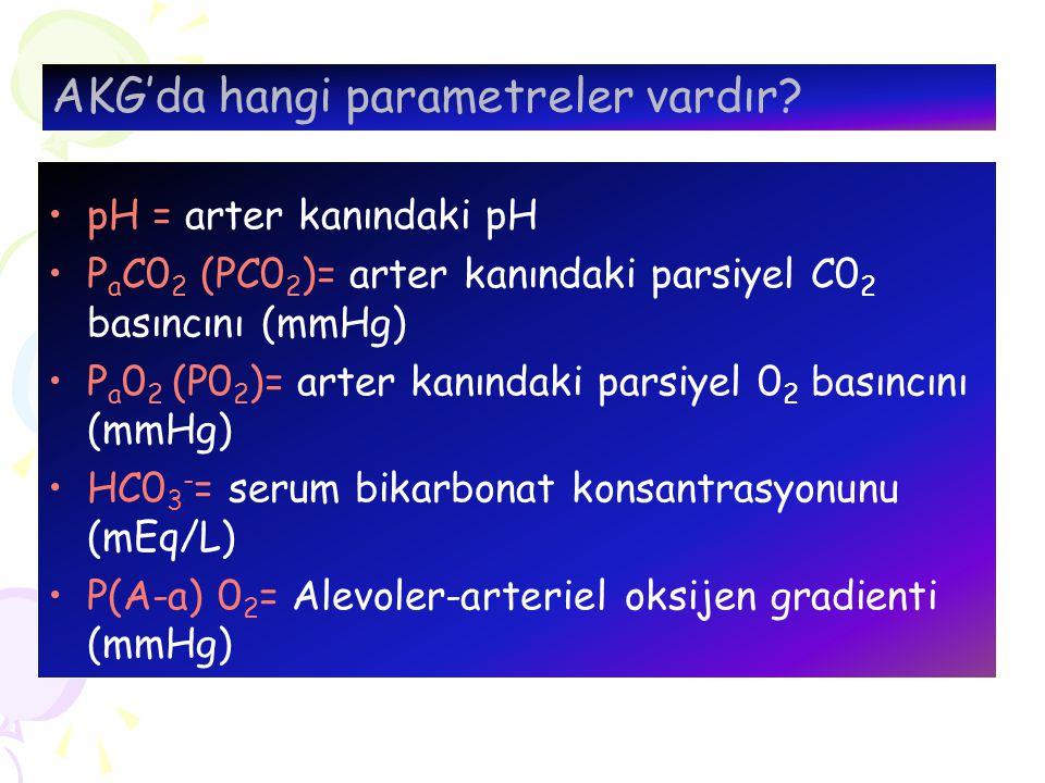 Arter Kan örneğindeki Normal değerler: pH: 7.35-7.45 P a 0 2 : 80-100 mmHg P a C 0 2 : 35-45 mmHg S a 0 2 : %97- %98 HC 0 3 : 24 ± 2 mEq/L BE: 0 ± 2 mEq/L P(A-a)0 2 : 5-15 mmHg