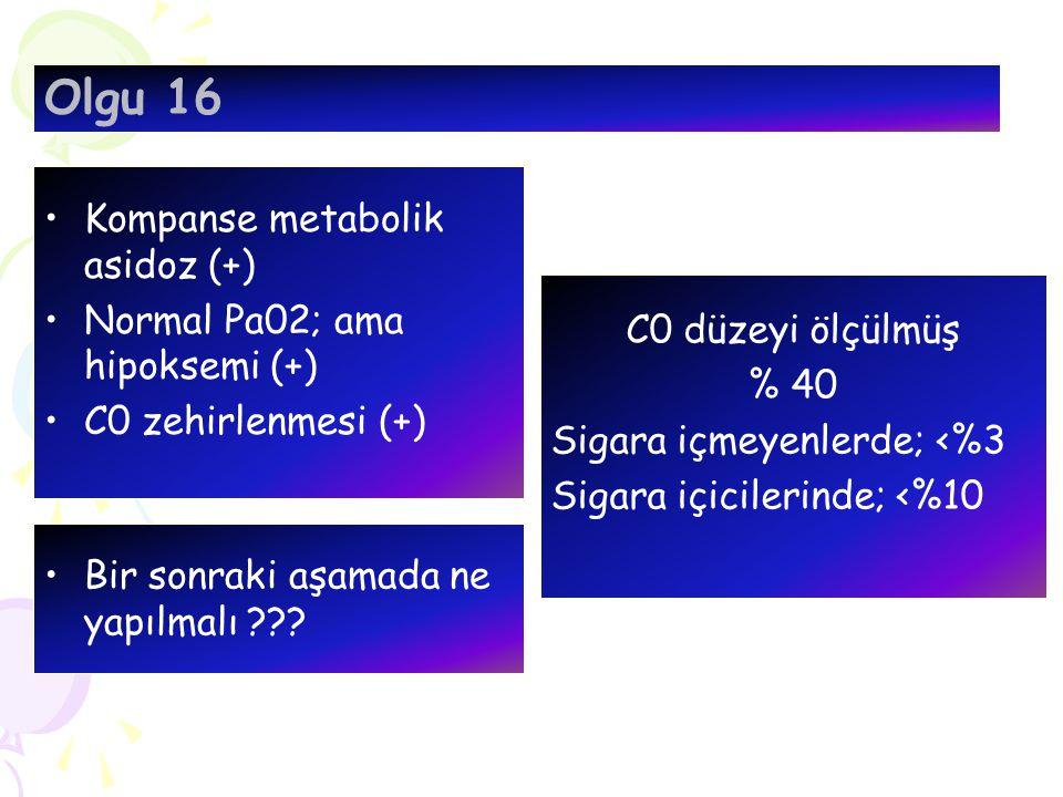 Kompanse metabolik asidoz (+) Normal Pa02; ama hipoksemi (+) C0 zehirlenmesi (+) Olgu 16 Bir sonraki aşamada ne yapılmalı ??? C0 düzeyi ölçülmüş % 40