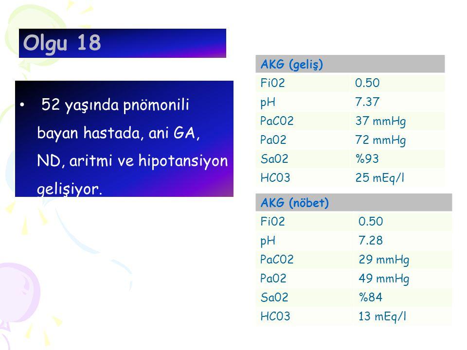 Olgu 18 52 yaşında pnömonili bayan hastada, ani GA, ND, aritmi ve hipotansiyon gelişiyor. AKG (geliş) Fi020.50 pH7.37 PaC0237 mmHg Pa0272 mmHg Sa02%93