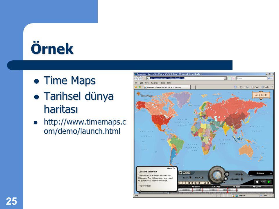 Örnek Time Maps Tarihsel dünya haritası http://www.timemaps.c om/demo/launch.html 25