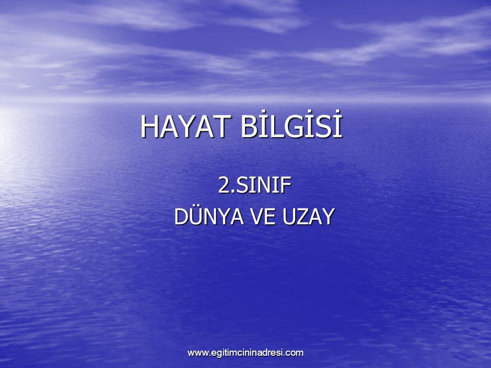 HAYAT BİLGİSİ 2.SINIF DÜNYA VE UZAY www.egitimcininadresi.com