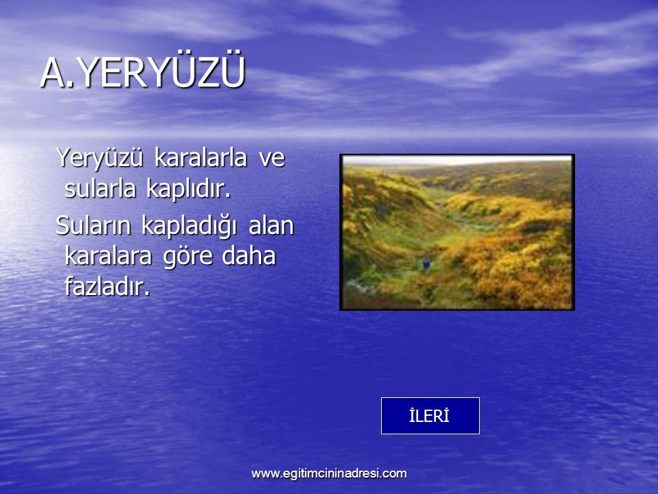 A.YERYÜZÜ Yeryüzü karalarla ve sularla kaplıdır.Yeryüzü karalarla ve sularla kaplıdır.