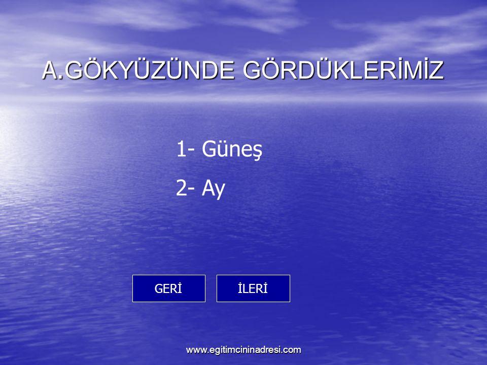 A. GÖKYÜZÜNDE GÖRDÜKLERİMİZ İLERİGERİ 1- Güneş 2- Ay www.egitimcininadresi.com