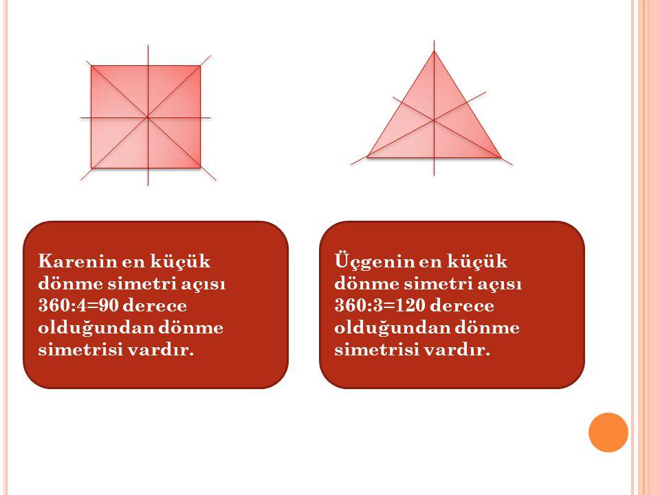 Karenin en küçük dönme simetri açısı 360:4=90 derece olduğundan dönme simetrisi vardır. Üçgenin en küçük dönme simetri açısı 360:3=120 derece olduğund
