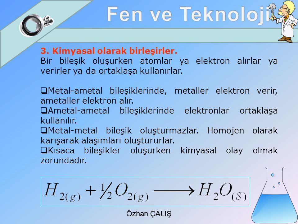 Özhan ÇALIŞ 3.Kimyasal olarak birleşirler.