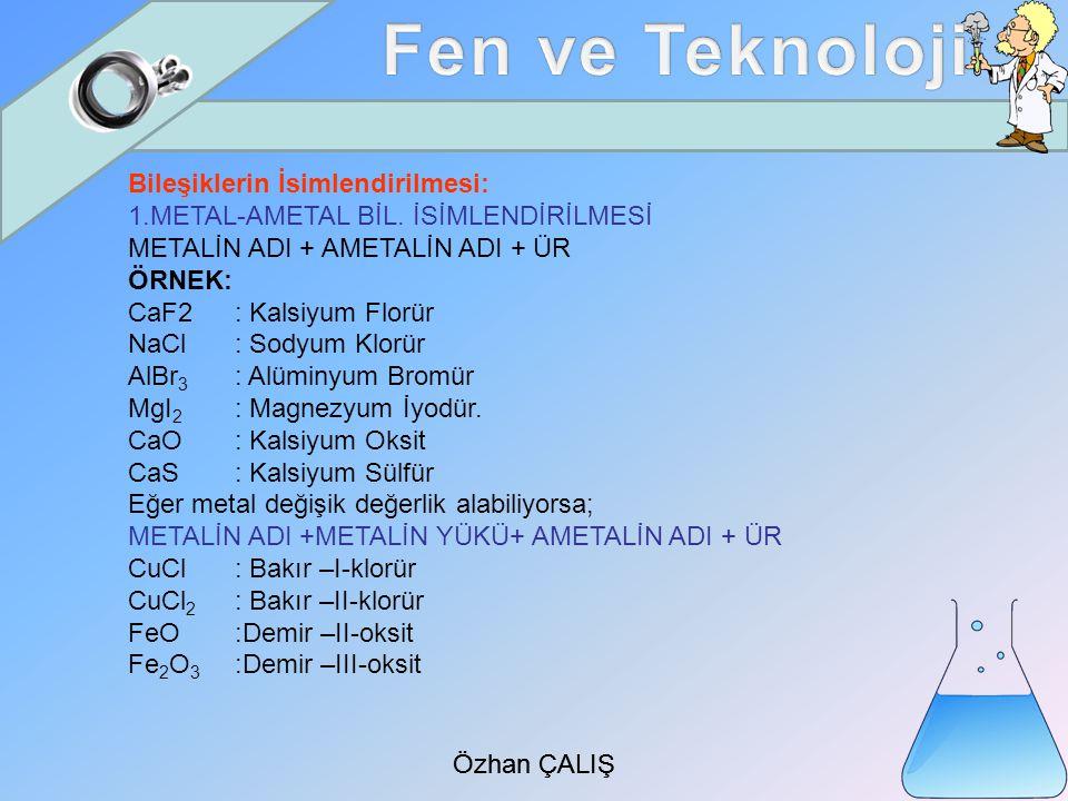 Özhan ÇALIŞ Bileşiklerin İsimlendirilmesi: 1.METAL-AMETAL BİL.