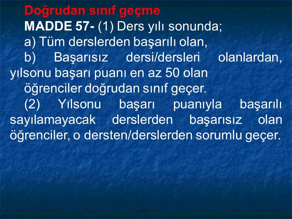 Bir dersin ağırlığı ve ağırlıklı puanı MADDE 54- (1) Bir dersin ağırlığı, o dersin haftalık ders saati sayısına eşittir. (2) Bir dersin yılsonu puanıy
