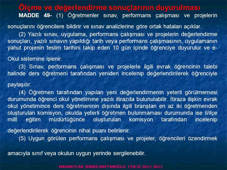 PİRİ REİS ANADOLU LİSESİ 2013 - 2014 ; Hazırlık sınıfında yeterlilik sınavı ve 9 uncu sınıfa geçiş MADDE 60- (1) Hazırlık sınıfında sınıf geçme, birinci yabancı dil dersiyle Türkçe dersindeki başarı durumlarına göre tespit edilir.
