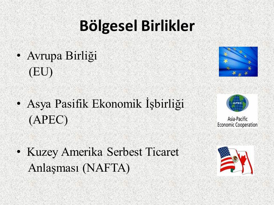 Bölgesel Birlikler Avrupa Birliği (EU) Asya Pasifik Ekonomik İşbirliği (APEC) Kuzey Amerika Serbest Ticaret Anlaşması (NAFTA)