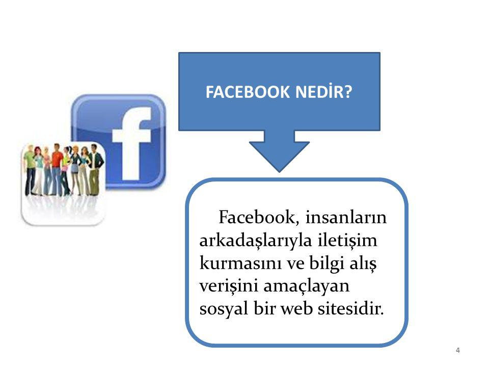 nedir? Facebook, insanların arkadaşlarıyla iletişim kurmasını ve bilgi alış verişini amaçlayan sosyal bir web sitesidir. 4 FACEBOOK NEDİR?