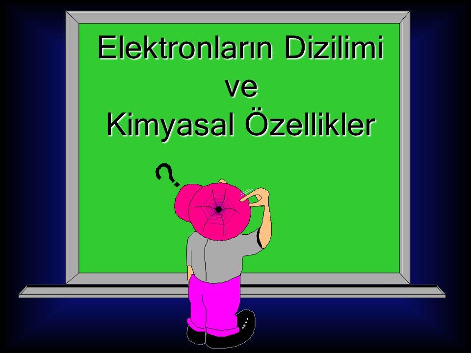 Elektronların Dizilimi Elektronların Dizilimi ve ve Kimyasal Özellikler Kimyasal Özellikler