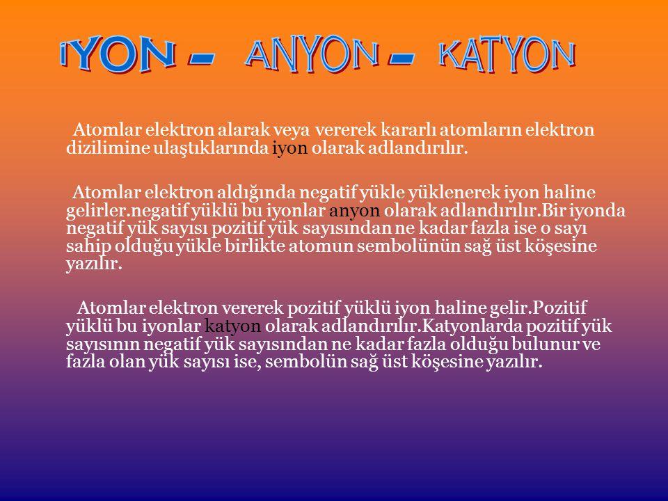 Atomlar elektron alarak veya vererek kararlı atomların elektron dizilimine ulaştıklarında iyon olarak adlandırılır.