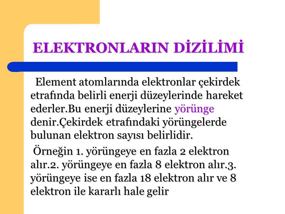 Elektronlar yerleştirilirken 1.yörünge dolmadan 2.