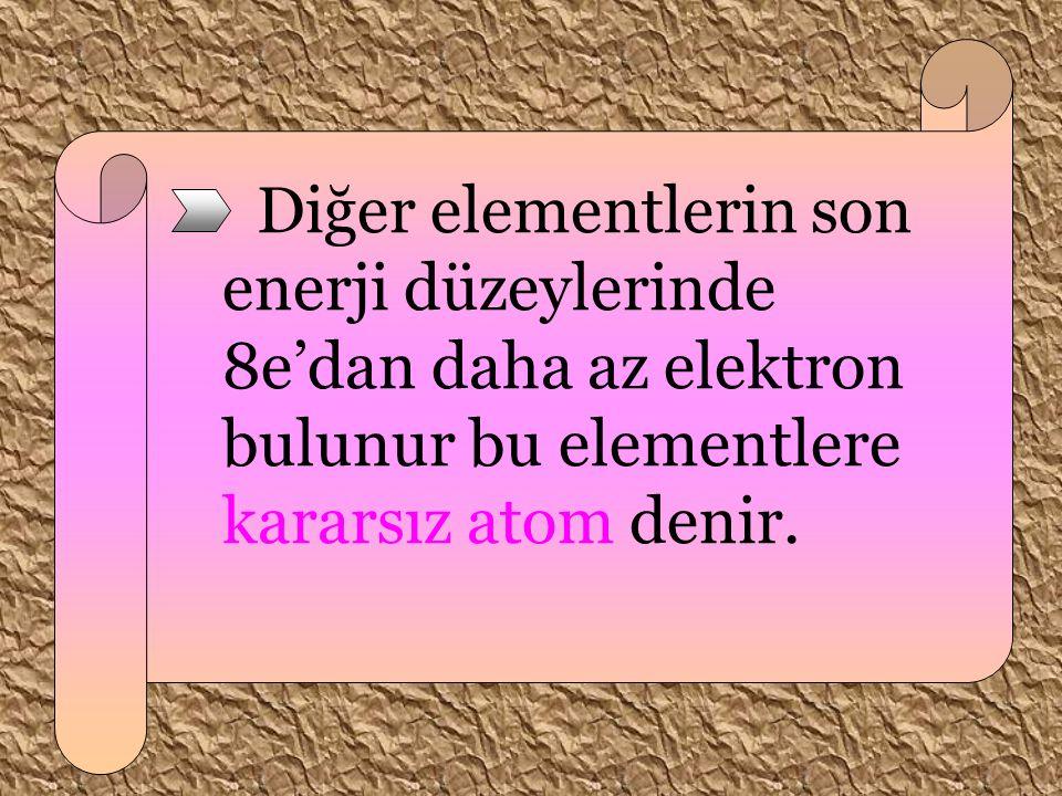 Diğer elementlerin son enerji düzeylerinde 8e'dan daha az elektron bulunur bu elementlere kararsız atom denir.