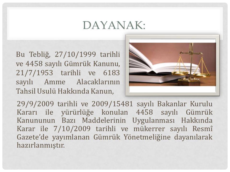 DAYANAK: 29/9/2009 tarihli ve 2009/15481 sayılı Bakanlar Kurulu Kararı ile yürürlüğe konulan 4458 sayılı Gümrük Kanununun Bazı Maddelerinin Uygulanmas